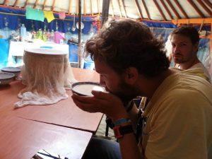Nikolaj tasting Airag http://www.mongolfood.info/en/recipes/airag.html