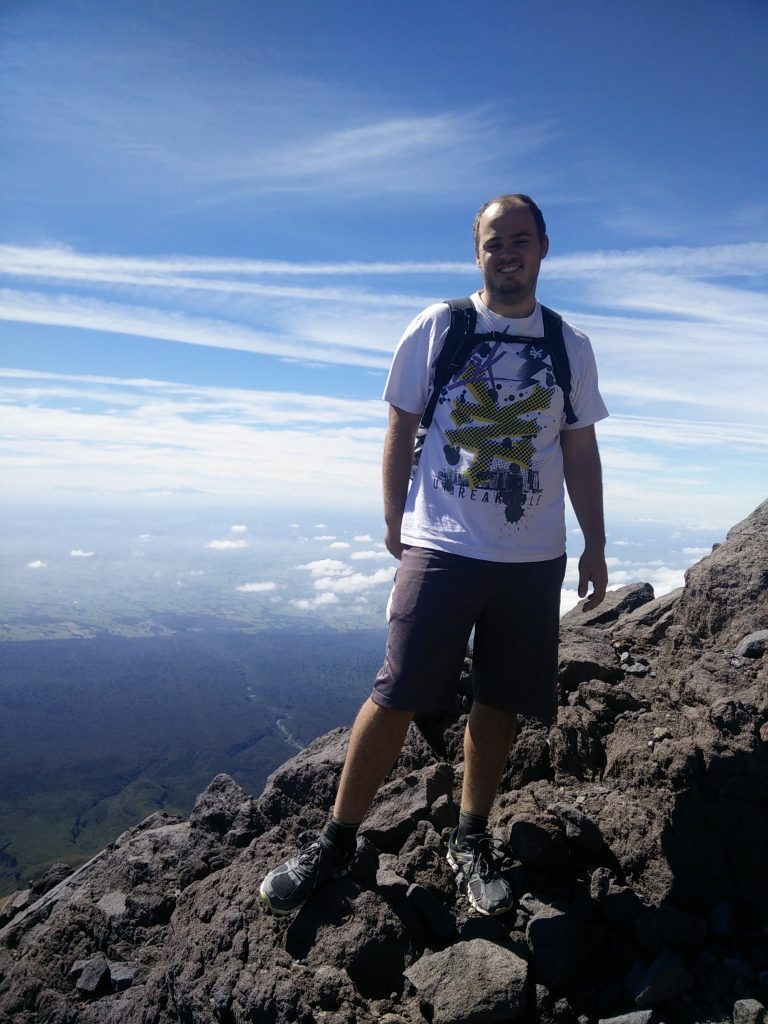 climbing mount taranaki new zealand at 45 degrees angle
