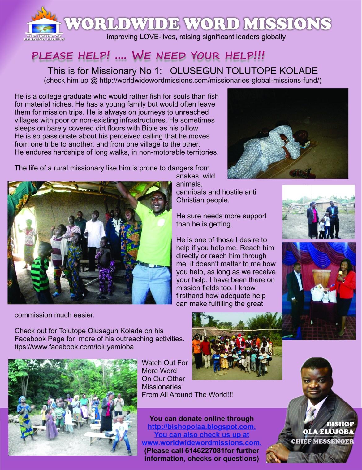 wwwmissions help flier - olusegun kolade