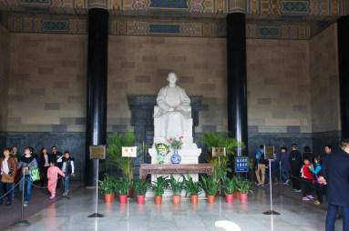Statue of Dr. Sun Yat-sen inside pavilion at the top