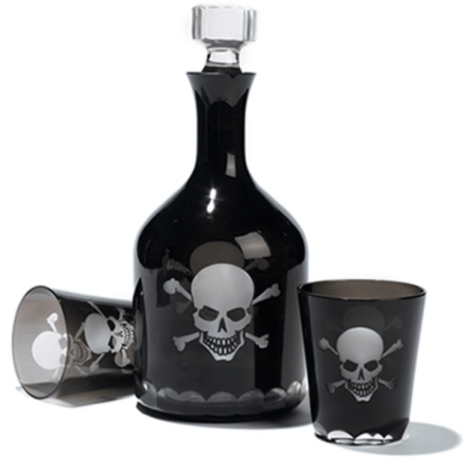 skull and crossbones decanter and glasses