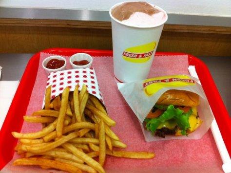 Fresh and Fast Cheeseburger Fries and Shake