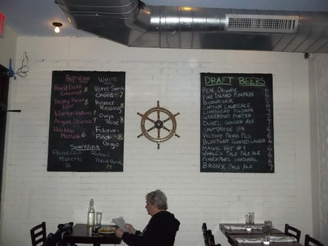 Bait and Hook Beer & Wine List with Ships Wheel