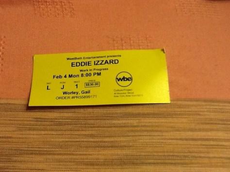 Eddie Izzard Work in Progress Ticket