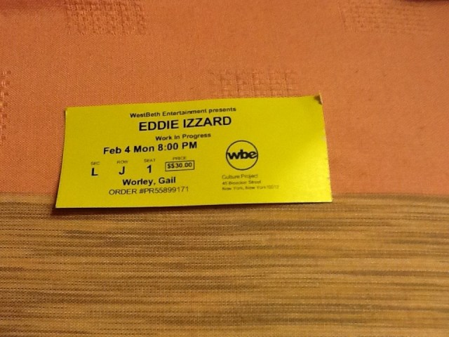 Eddie Izzard Work in Progress Ticket
