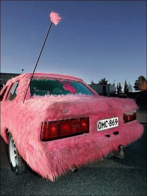 Pink Fuzzy Car