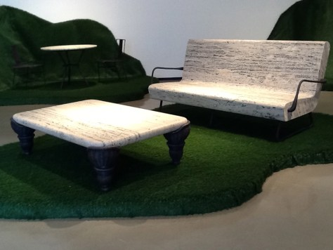 Travertine Couch and Table