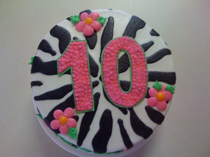 10th Birthday Cake Zebra