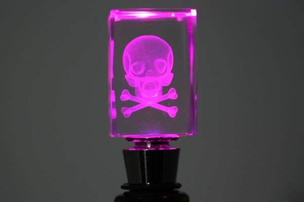 Pink Light Up Skull Bottle Stopper
