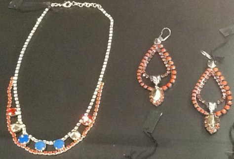 Red White and Blue Jewel Necklace and Earrings