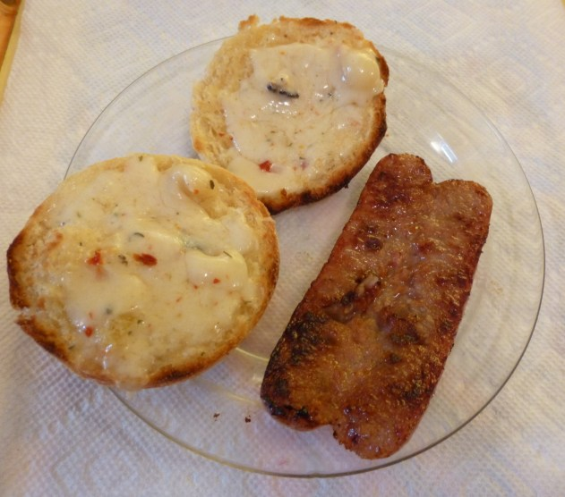 Raclette Cheese on English Muffin with Sausage