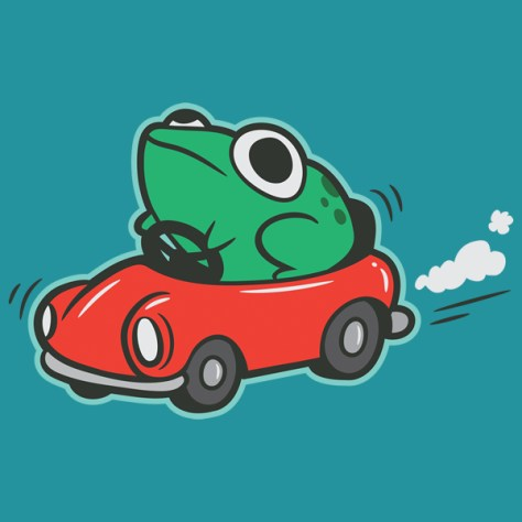 Frog Riding in a Car