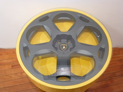 Lambo Gallardo Yellow Wheel Table