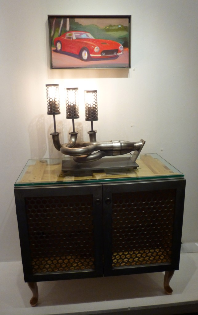 Lusso with Porsche Exhaust Lamp and Lambo Shipping Crate Console Cabinet