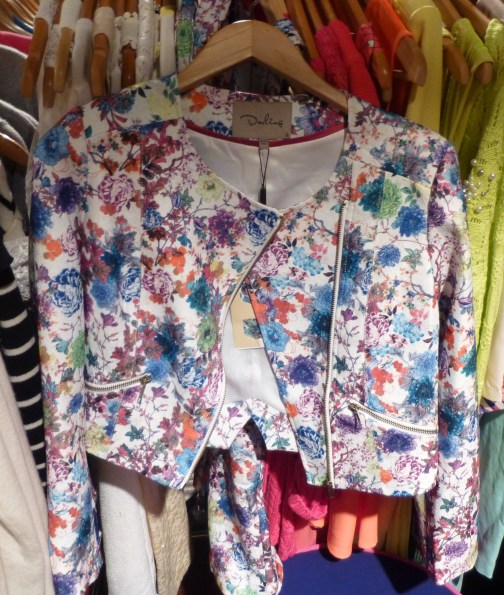 Cropped Floral Motorcycle Jacket By Darling