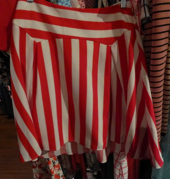 Red and White Striped Short Skirt By Alice's Pig