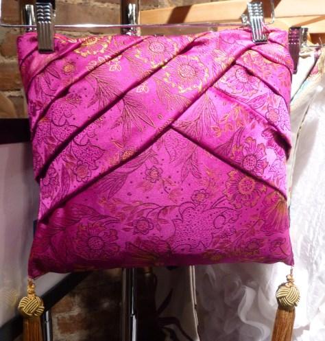 Magenta Silk Brocade Handbag By Durdoux