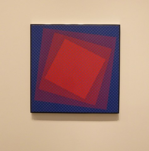Julian Stanczak Blue and Red Squares