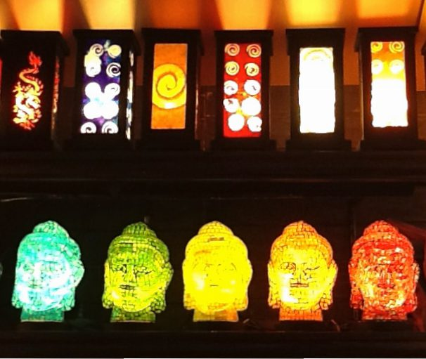 Mosaic Buddha Lamps Display