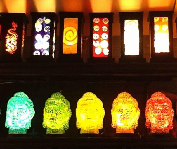 Mosaic Buddha Lamps Display