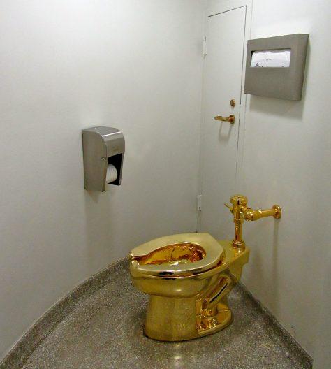 Bathroom with Golden Toilet