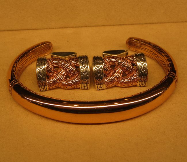 Braided Chain Cufflink and Cuff in Blackened Bronze