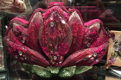 Pink Lotus Flower Beaded Purse