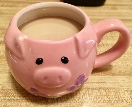 Coffee in a Pig Mug