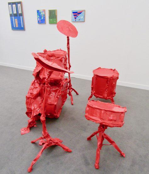 Red Plastic Drumkit Rear View