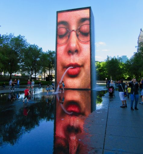 Crown Fountain Spitting