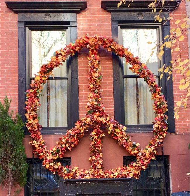 Peace Sign Fall Leaf Wreath