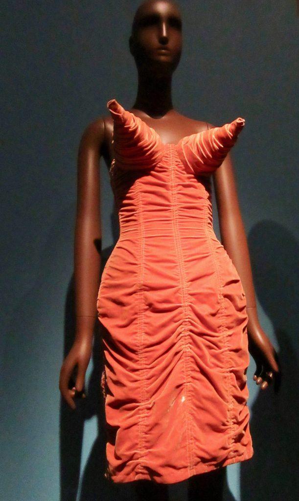 Orange Shirred Velvet Corset Dress