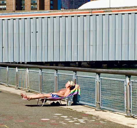 sunbather at container car photo by gail worley