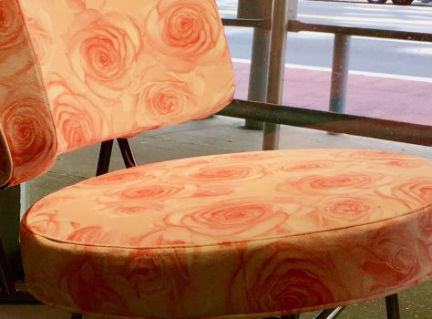 coco lounge chair rose fabric detail photo by gail worley