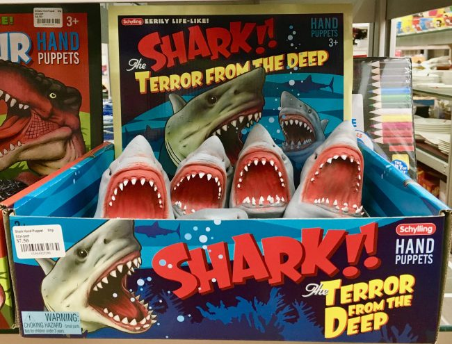 shark attack hand puppet display photo by gail