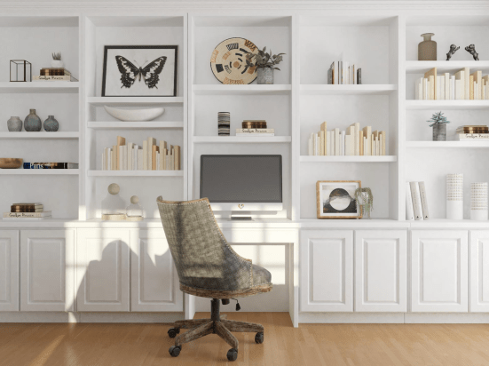 office with wall storage