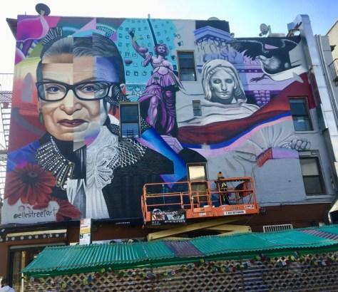 elle works on rbg mural photo by gail worley