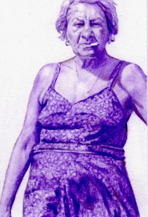 postcards from the edge purple old lady