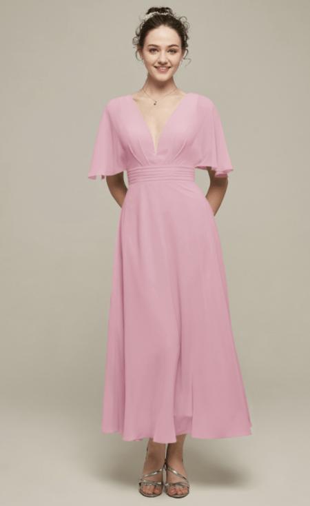 Bridesmaid Pink Midi Length Dress