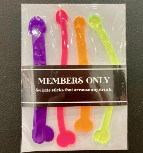 penis shaped swizzle sticks photo by gail worley