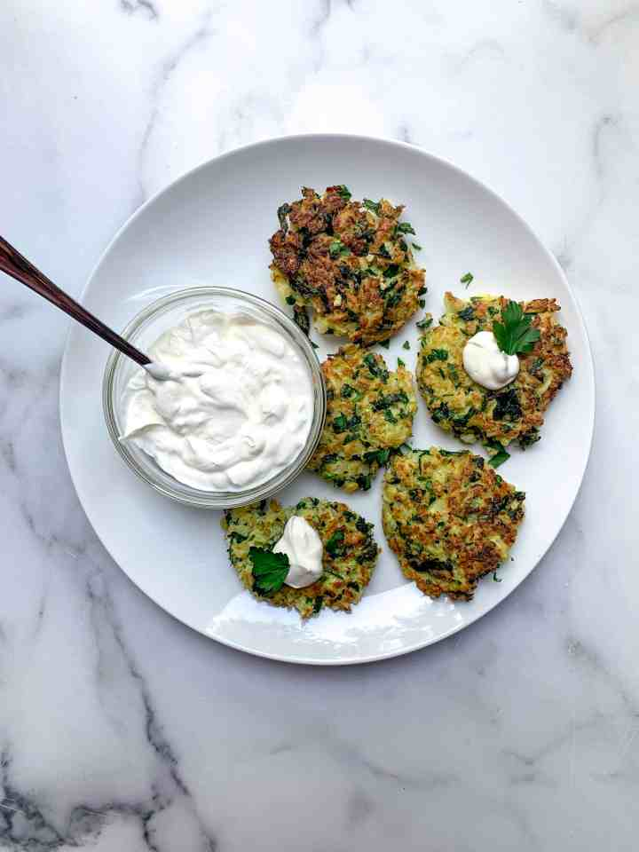 plate of cauliflower fritters
