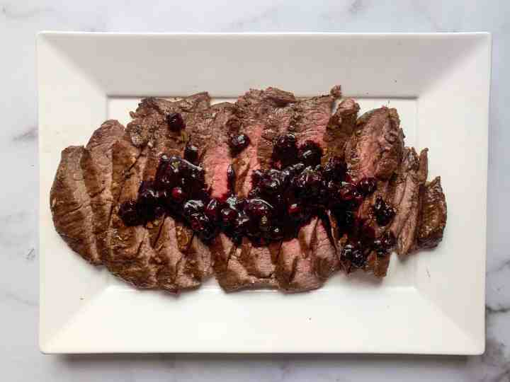 flank steak with blueberry balsamic sauce