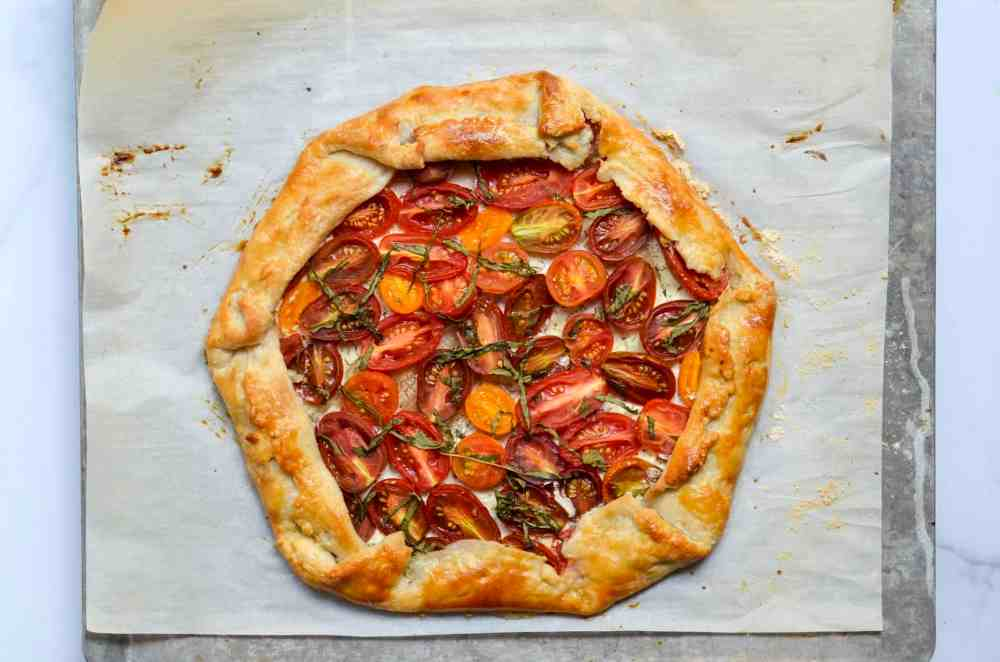 fully baked tomato and goat cheese galette