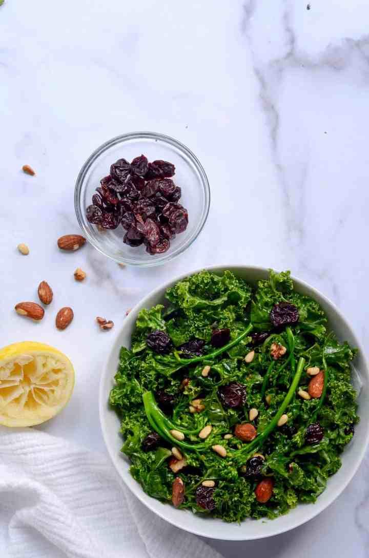 ingredients in superfood kale salad