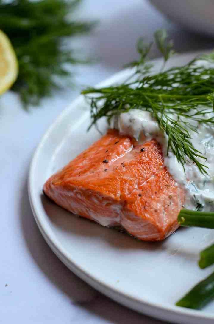 close up of pan seared salmon