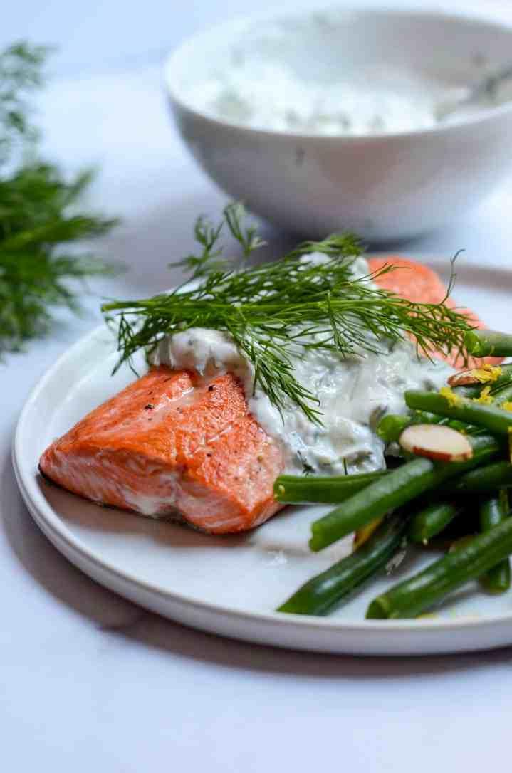 salmon with dill Tzatziki