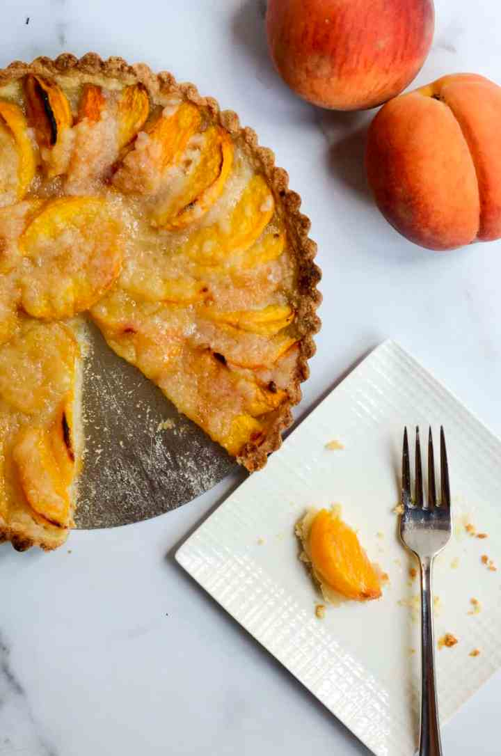 peach tart aerial view