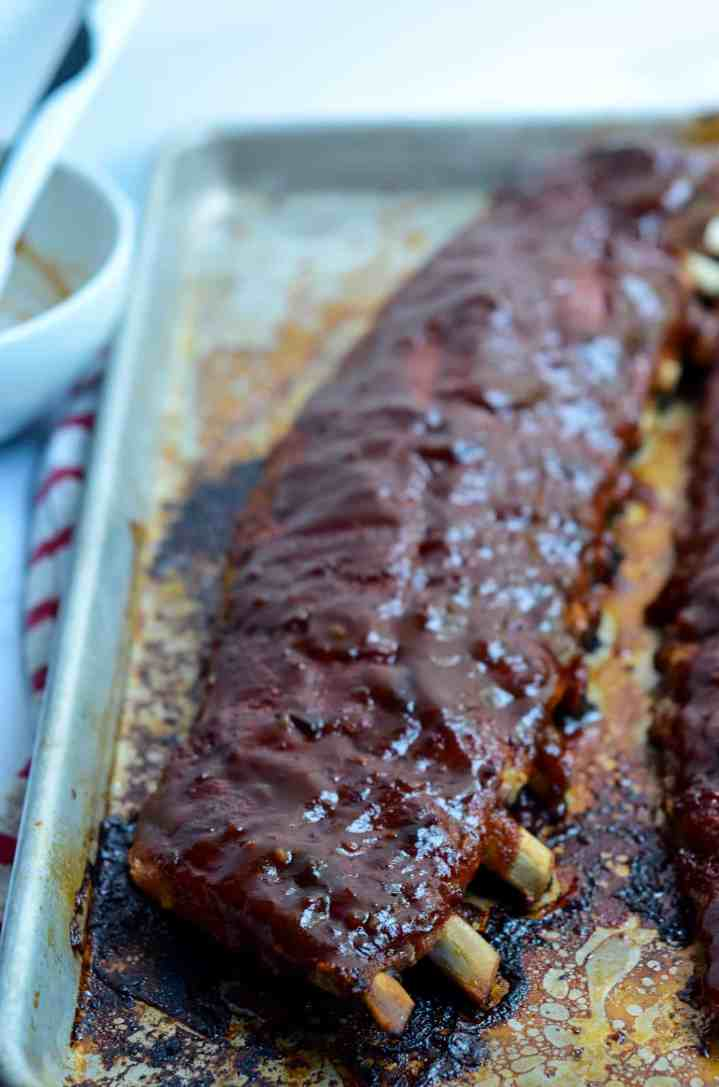 barbecue sauce covered ribs