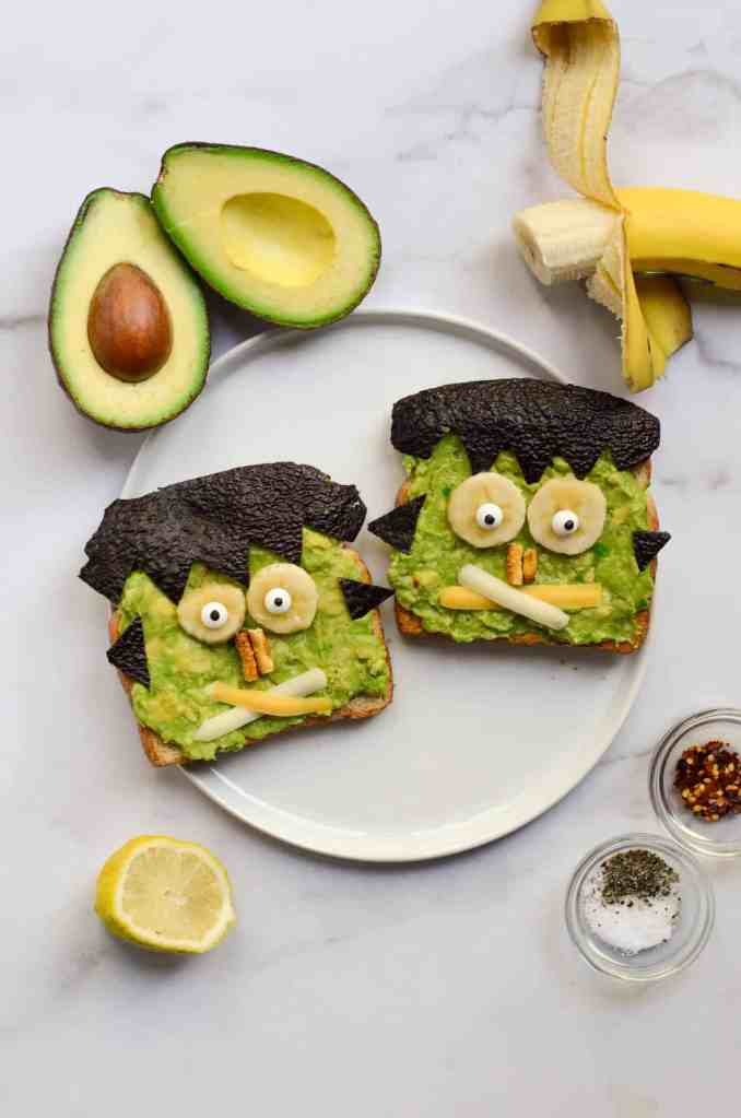 easy and healthy frankestein toast is a great breakfast for halloween