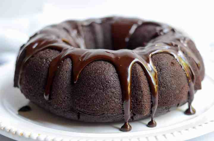 the finished double chocolate bundt cake